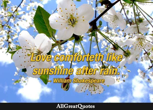 love comforteth - william shakespeare