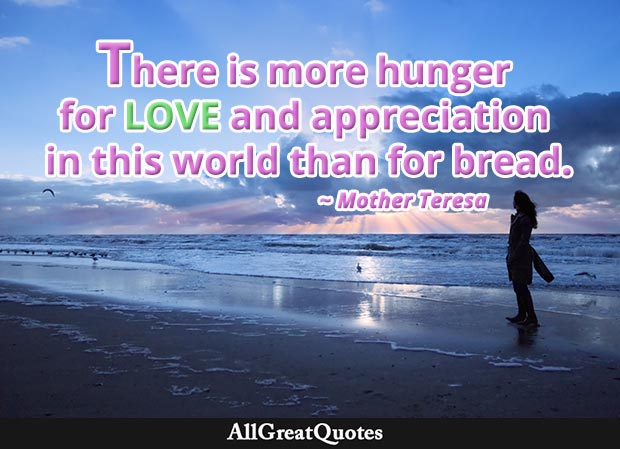 hunger for love - mother teresa