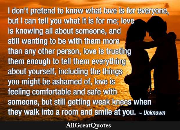 love is knowing all about someone