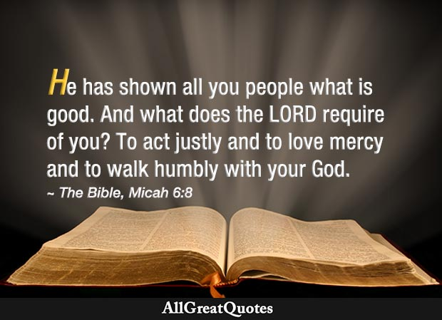 Bible quote on love, mercy and walking humbly with God