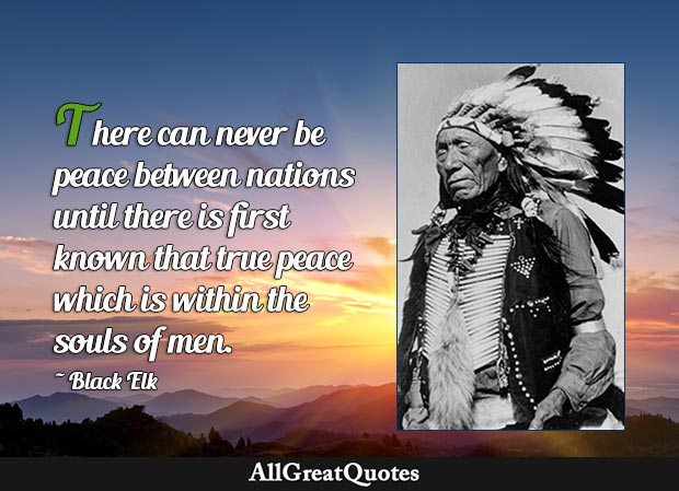 There can never be peace between nations until there is first known that true peace which is within the souls of men. - Black Elk