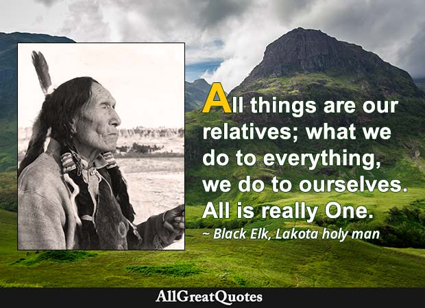 All things are our relatives; what we do to everything, we do to ourselves. All is really One. - Black Elk