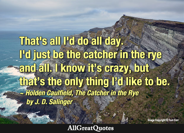 That's all I do all day. I'd just be the catcher in the rye and all - J. D. Salinger quote