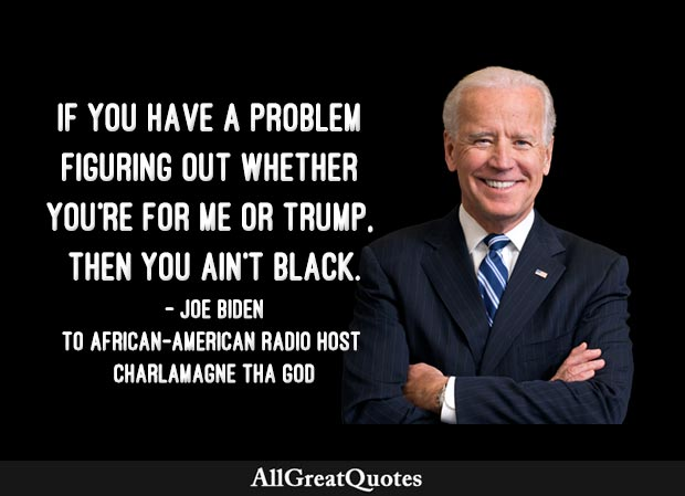 If you have a problem figuring out whether you're for me or Trump, then you ain't black - Joe Biden