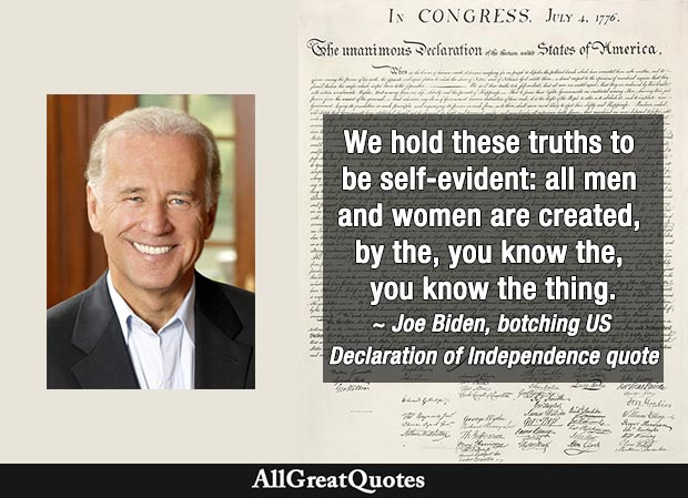 Joe Biden botches US Declaration of Independence quote