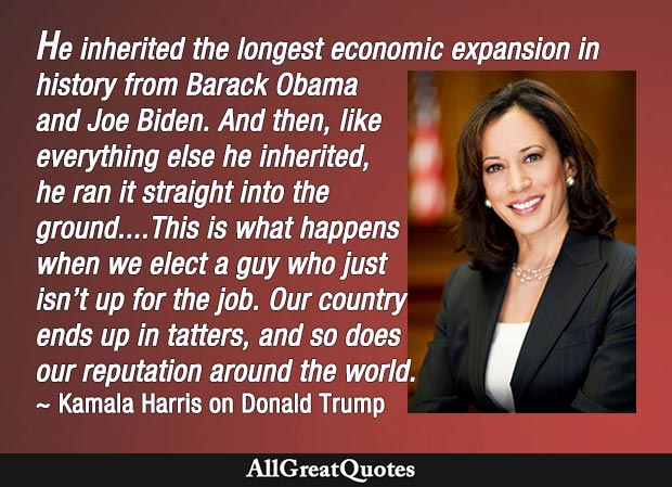 This is what happens when we elect a guy who just isn't up for the job - Kamala Harris quote