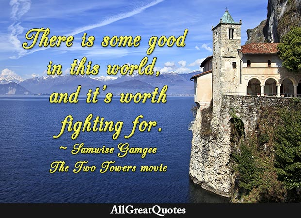 There is some good in this world, and it's worth fighting for - Samwise Gamgee