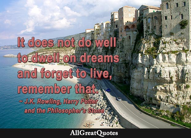 It does not do to dwell on dreams and forget to live, remember that - J. K. Rowling quote