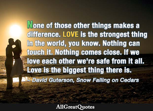 Love is the strongest thing in the world - David Guterson quote
