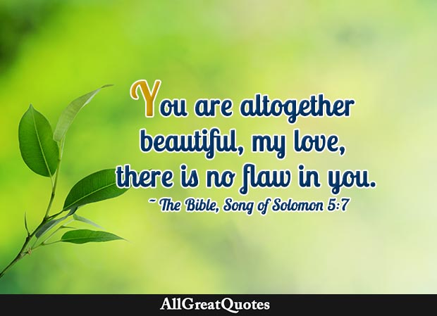 You are altogether beautiful, my love, there is no flaw in you - Song of Solomon quote