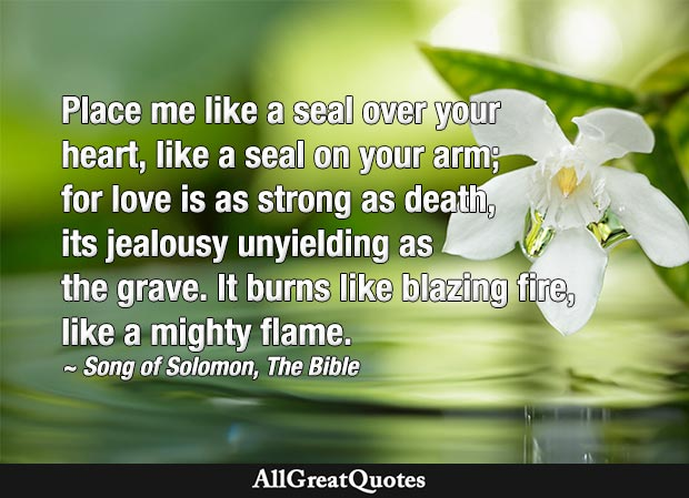 Place me like a seal over your heart - song of solomon quote