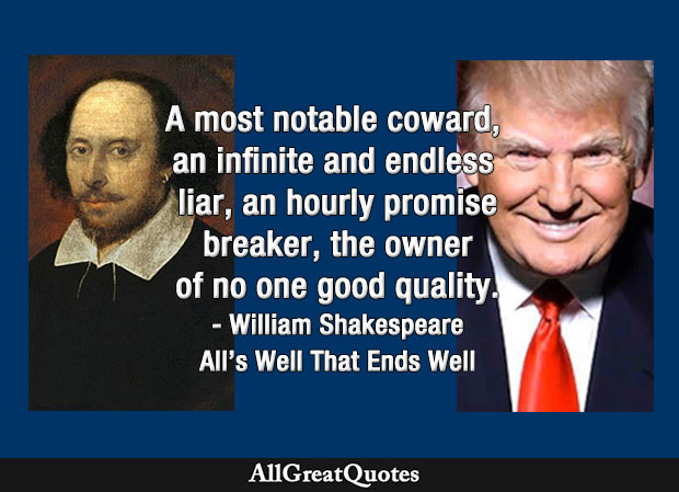 notable coward, an infinite and endless liar quote from Shakespeare